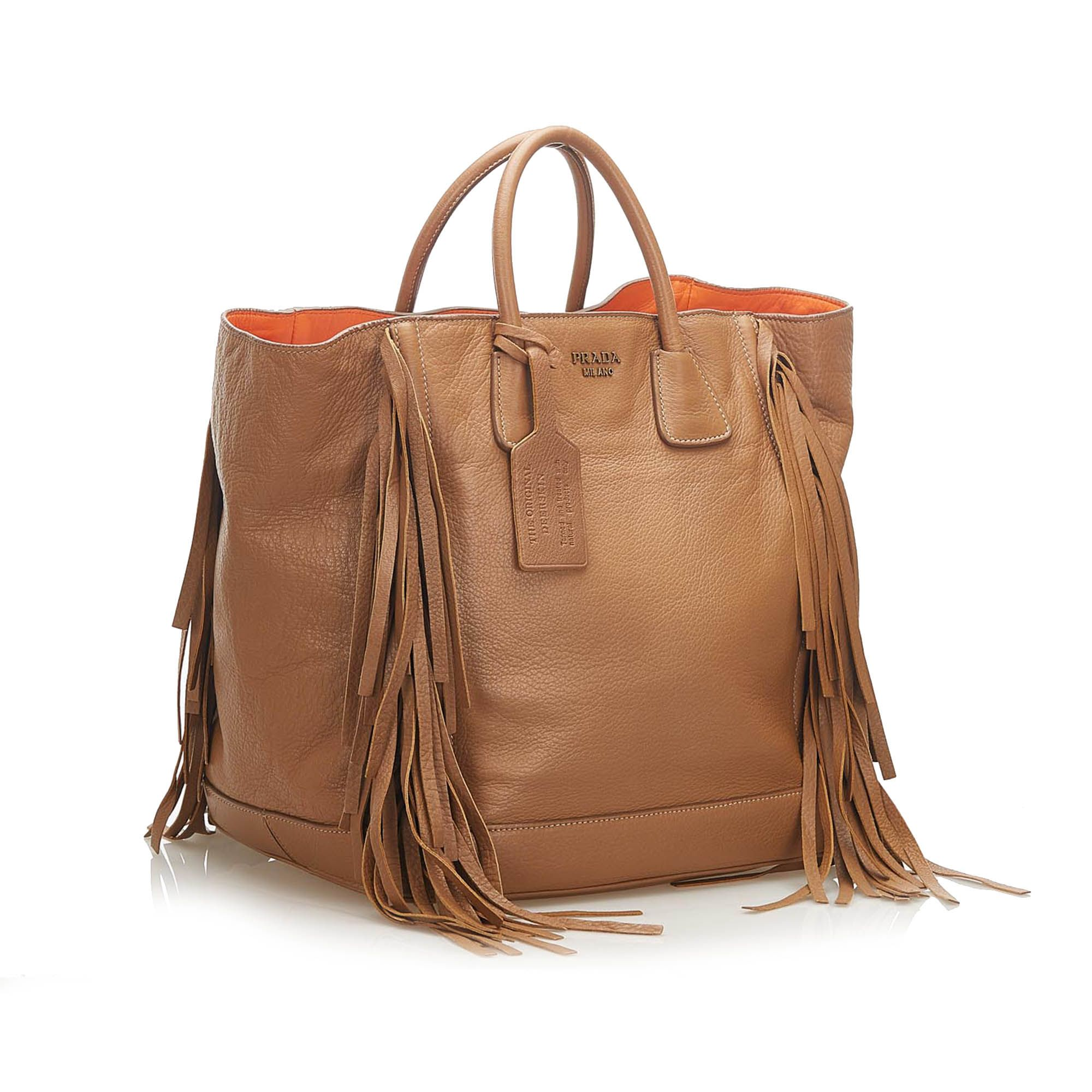 Vintage Prada Fringe Leather Tote Bag Brown