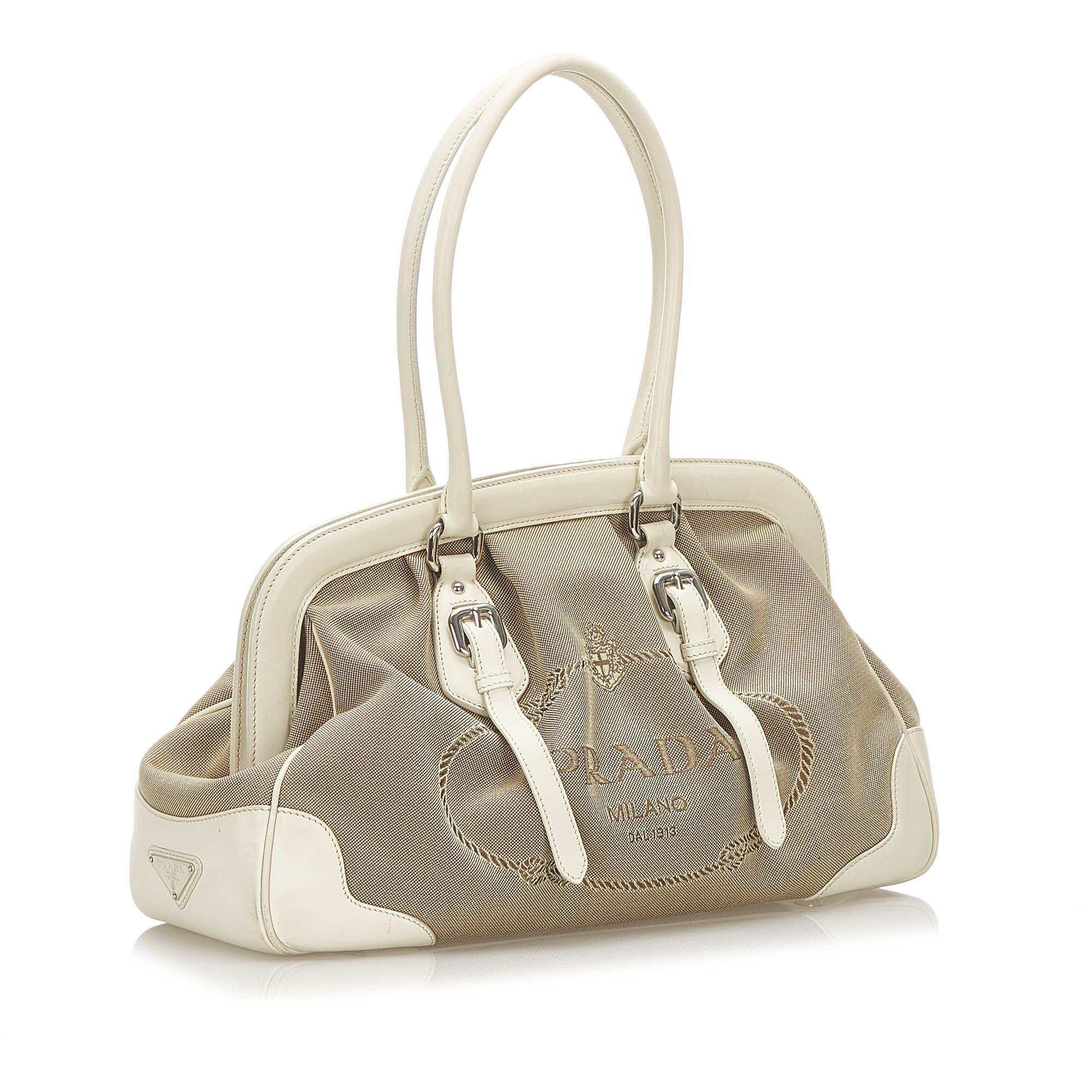 Vintage Prada Canapa Logo Frame Canvas Handbag Brown