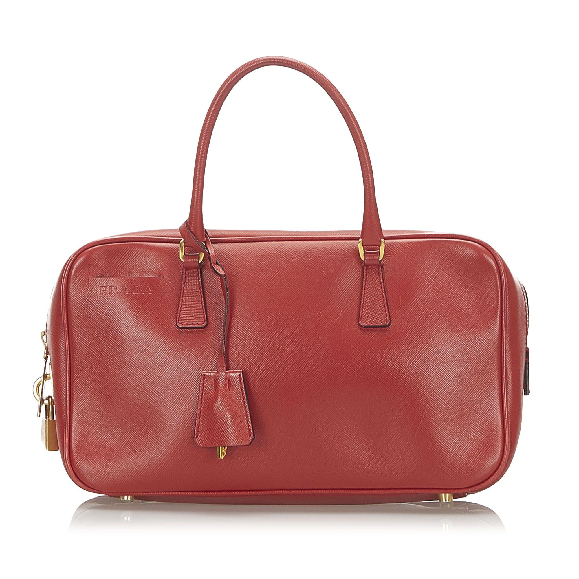 Vintage Prada Leather Handbag Red