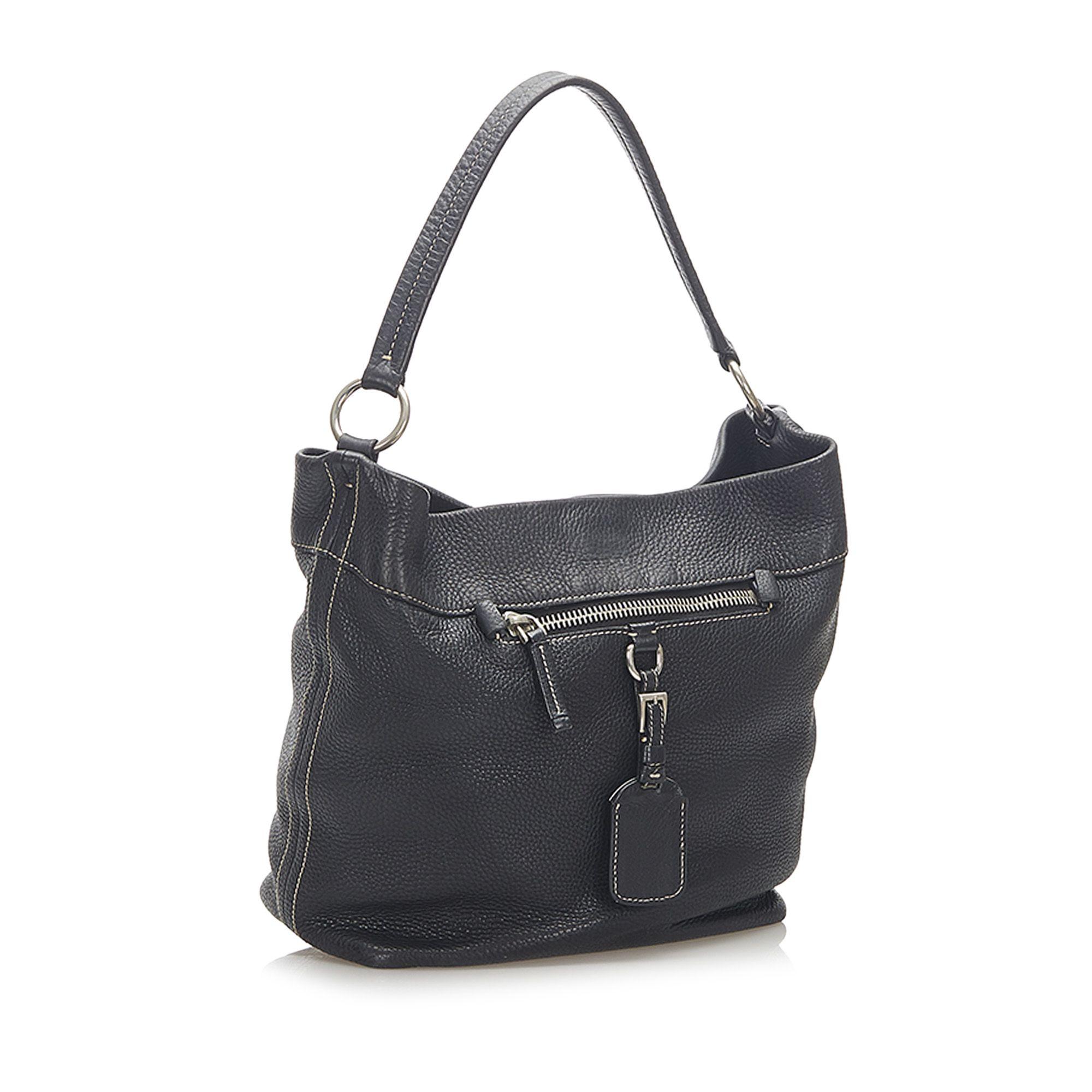 Vintage Prada Leather Shoulder Bag Black
