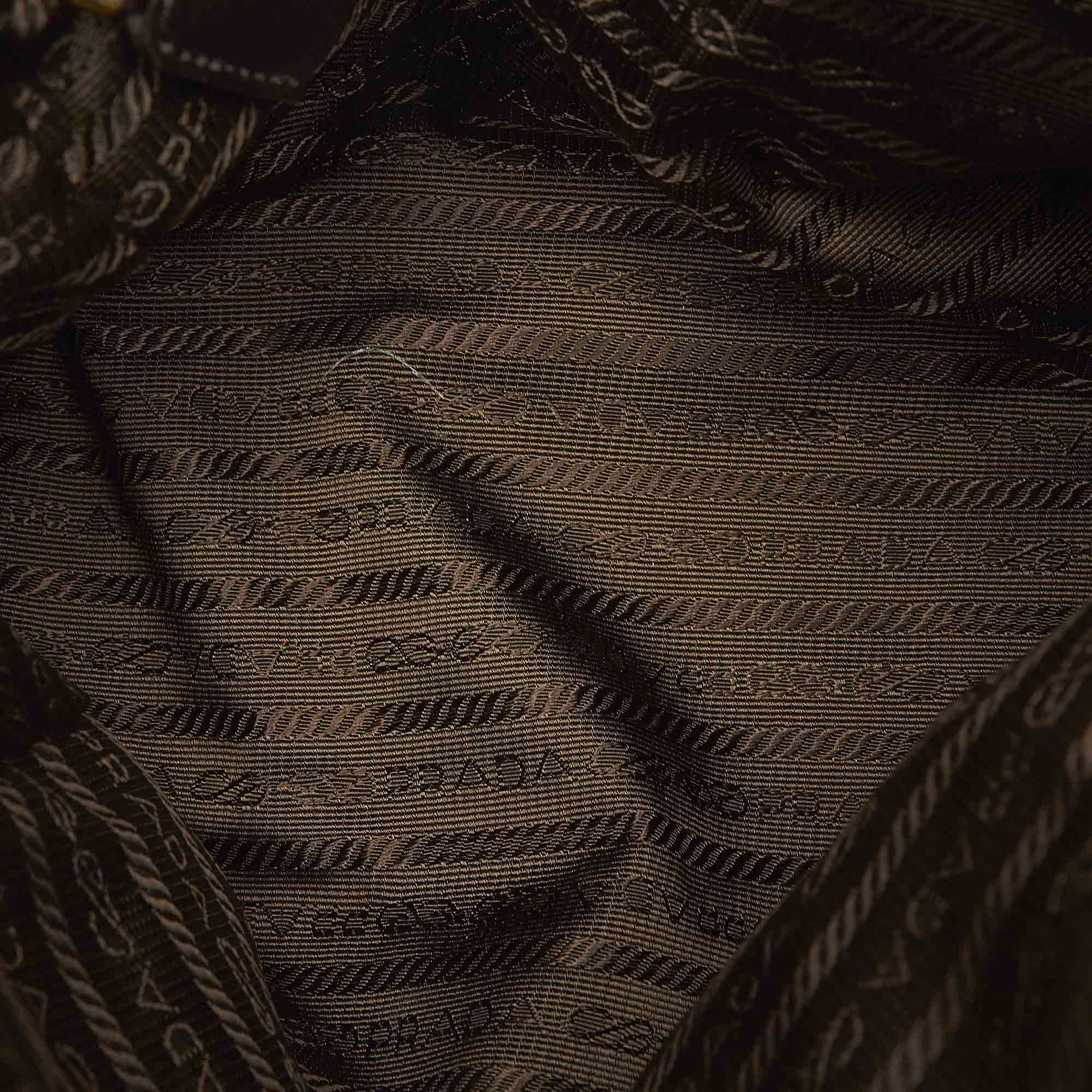 Vintage Prada Tessuto Chain Shoulder Bag Green