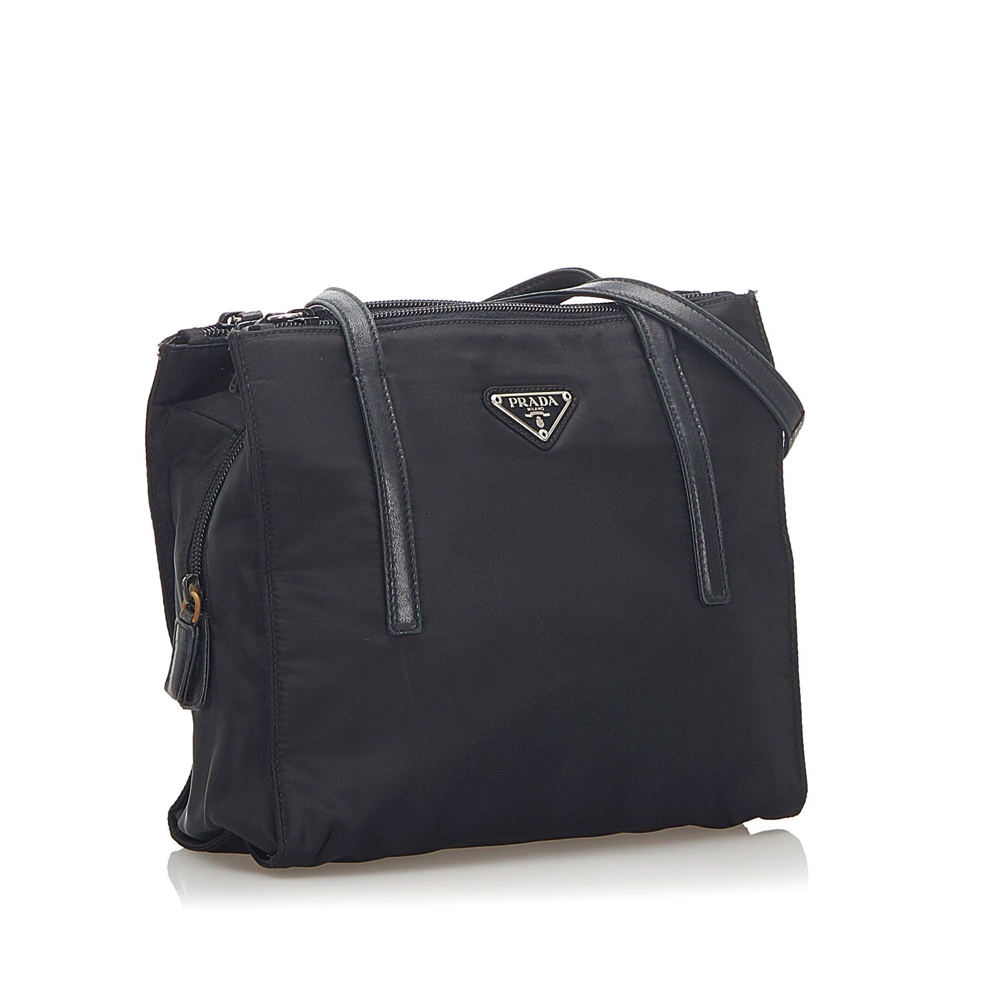 Vintage Prada Tessuto Shoulder Bag Black