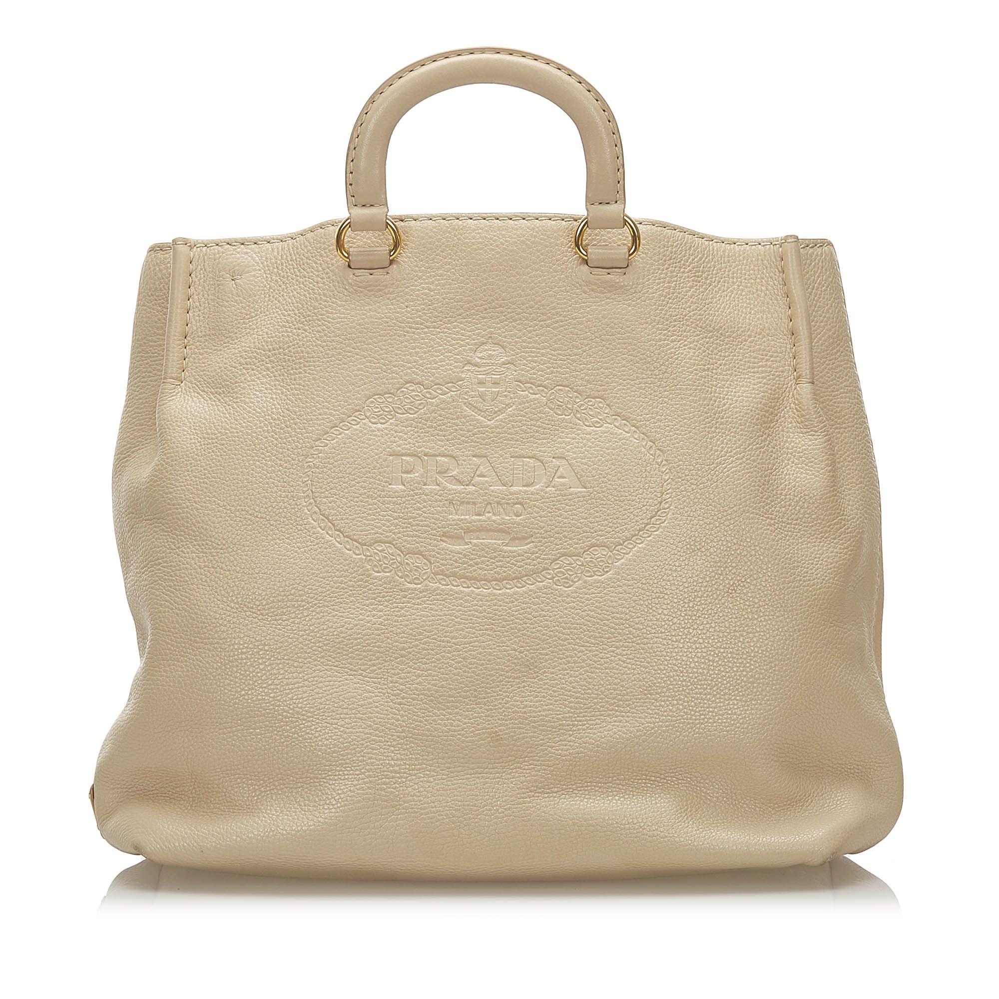 Vintage Prada Logo Leather Satchel Brown