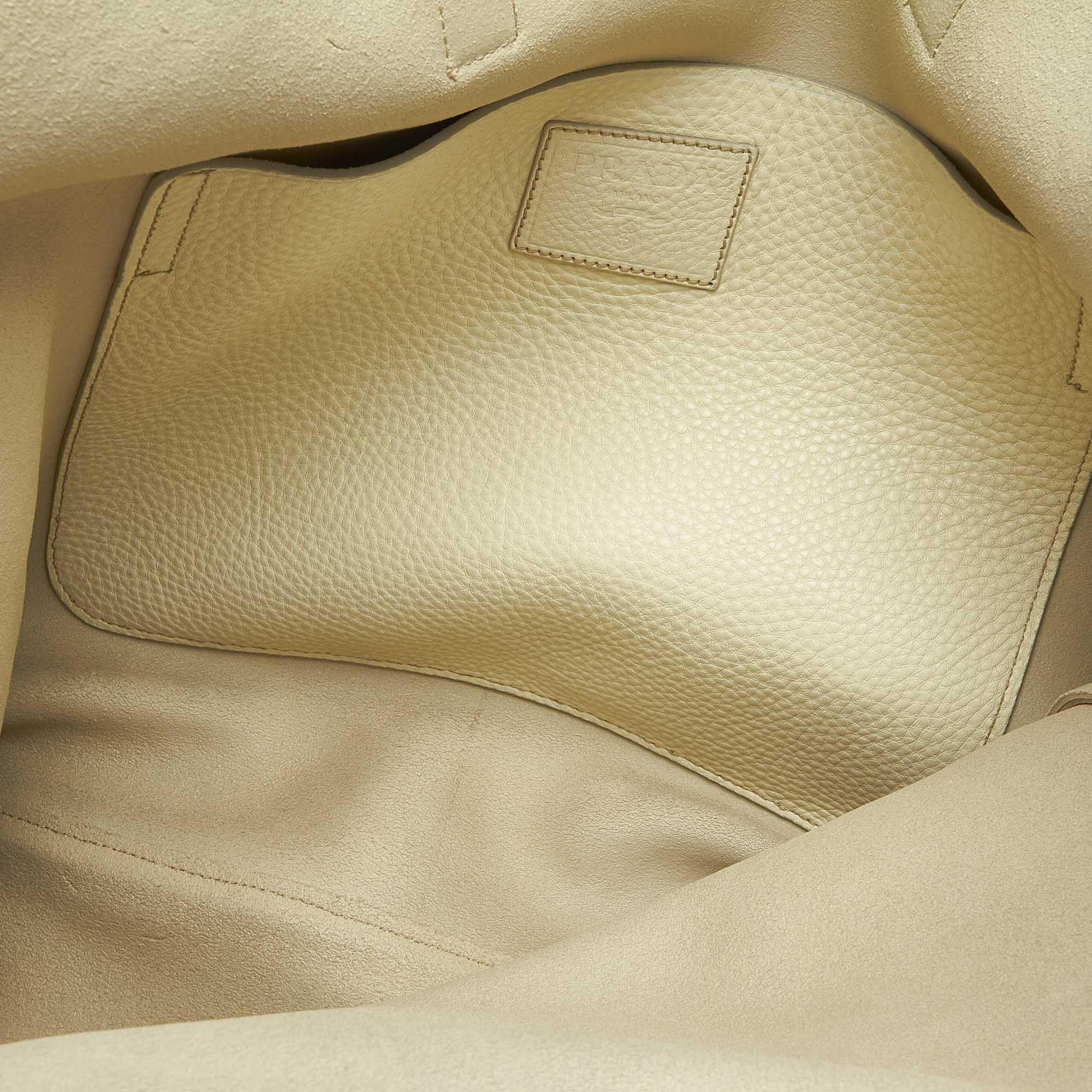 Vintage Prada Leather Tote Bag White