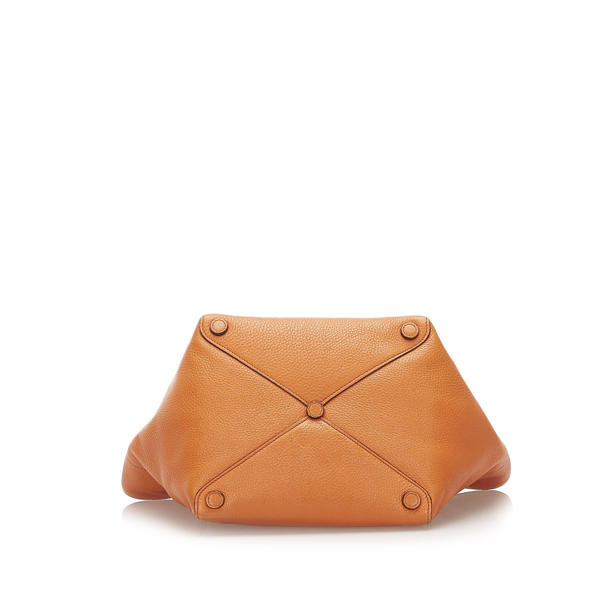 Vintage Prada Leather Tote Bag Orange