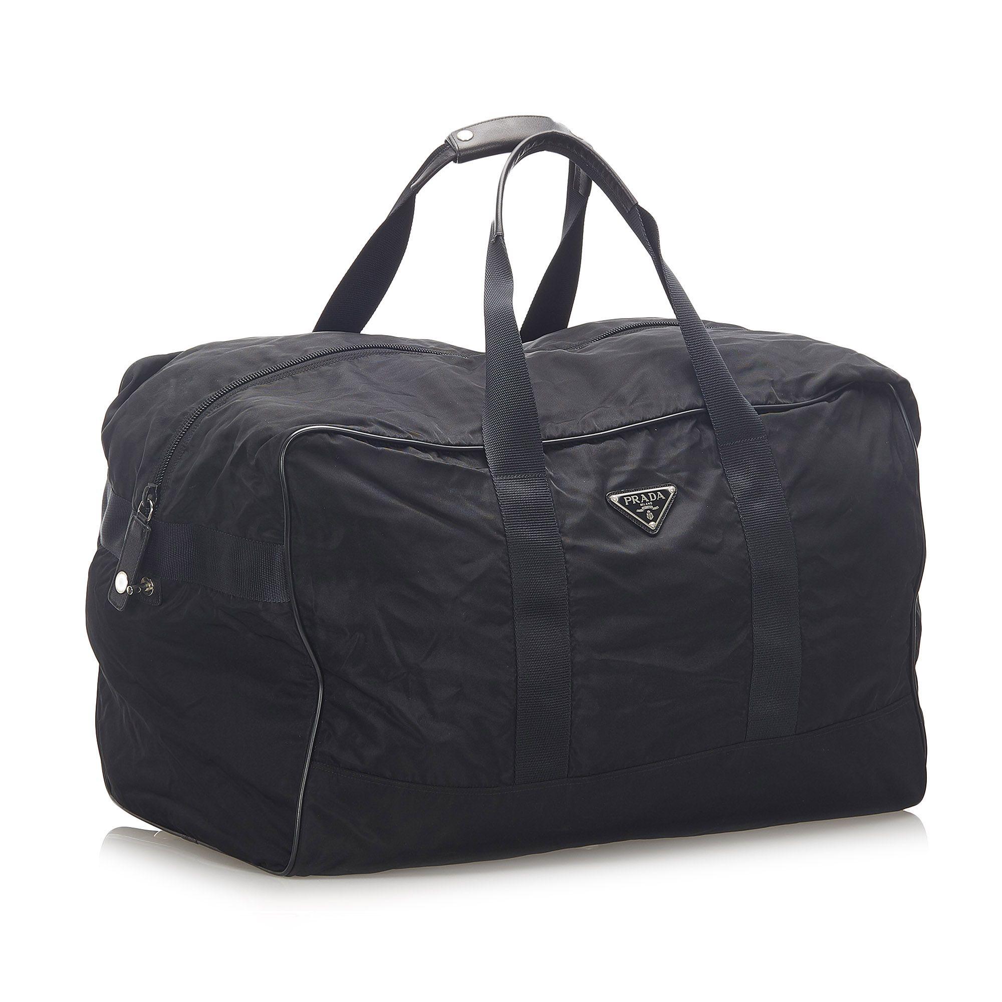 Vintage Prada Tessuto Travel Bag Black