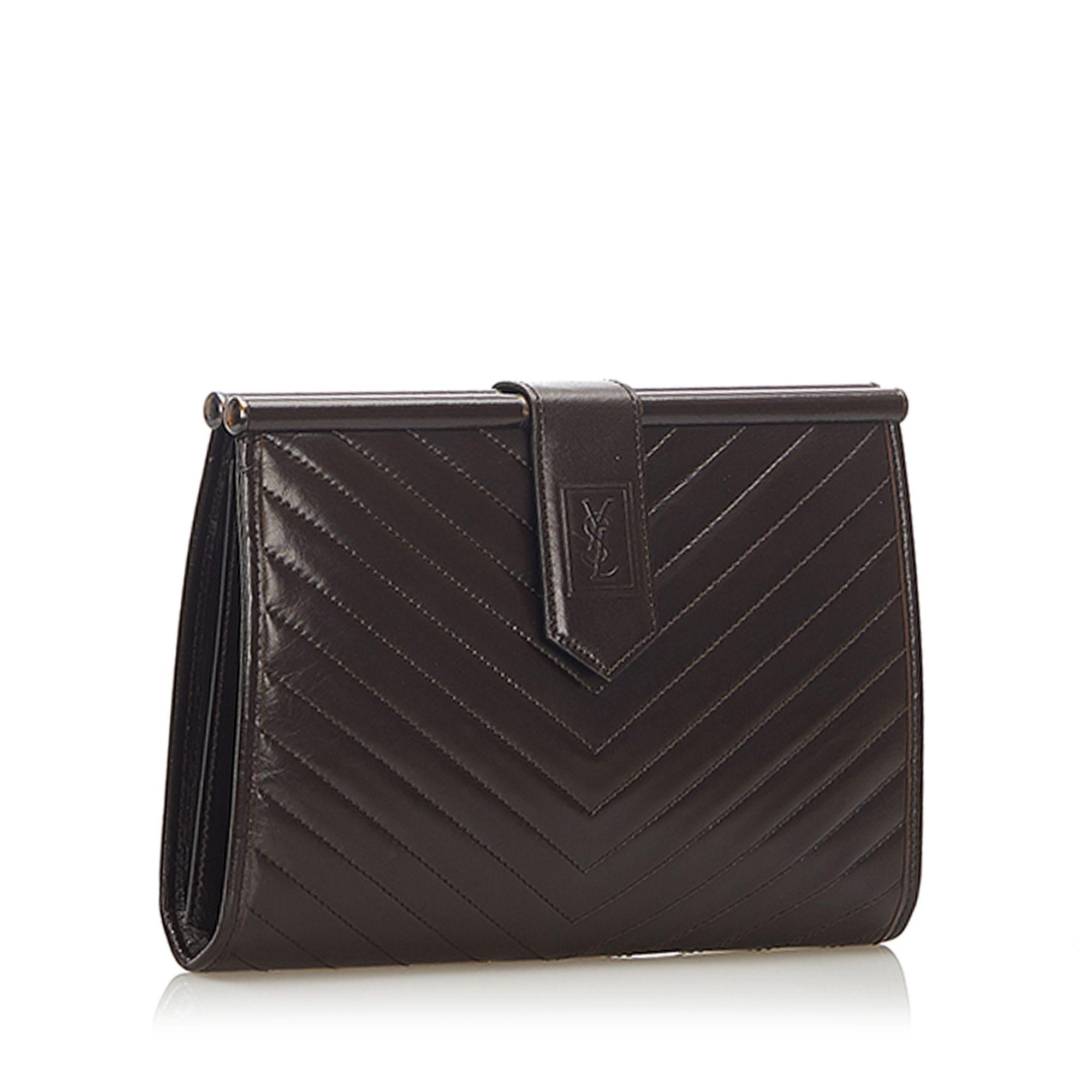Vintage YSL Chevron Leather Clutch Bag Brown