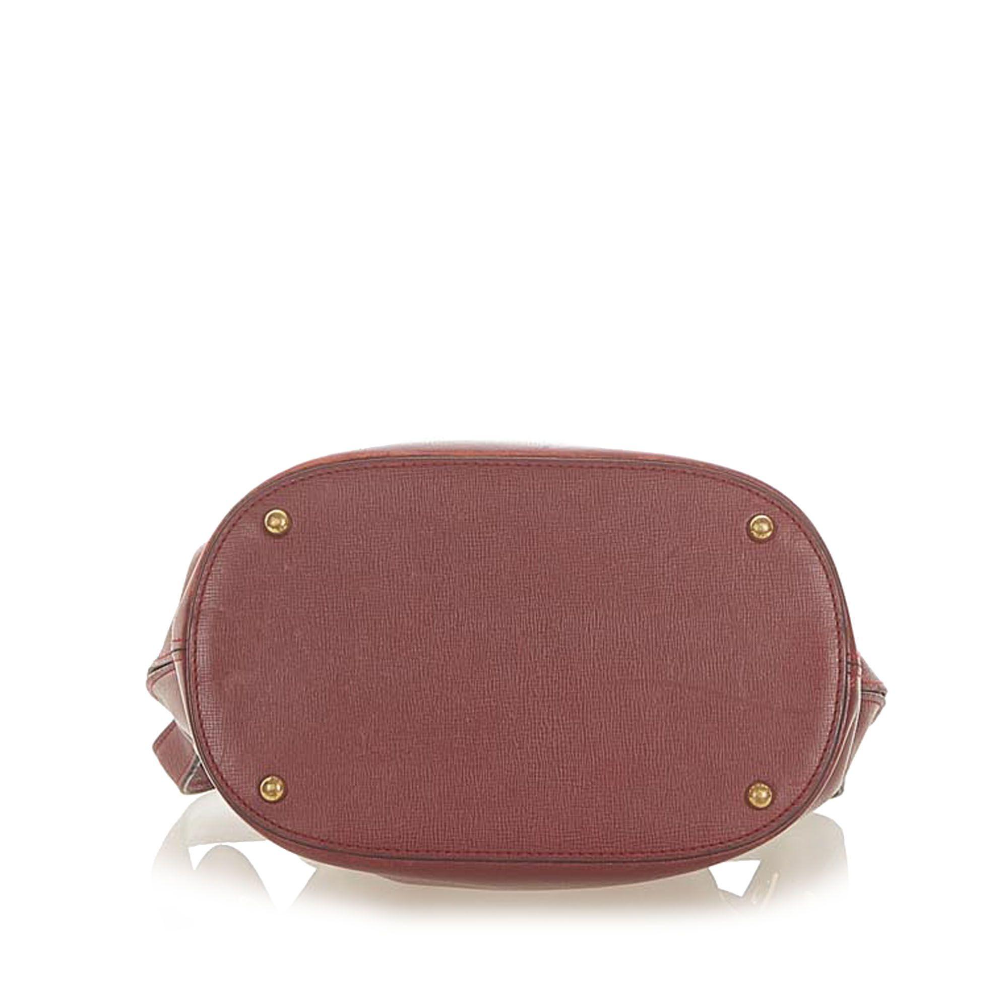 Vintage Cartier Must de Cartier Leather Bucket Bag Red