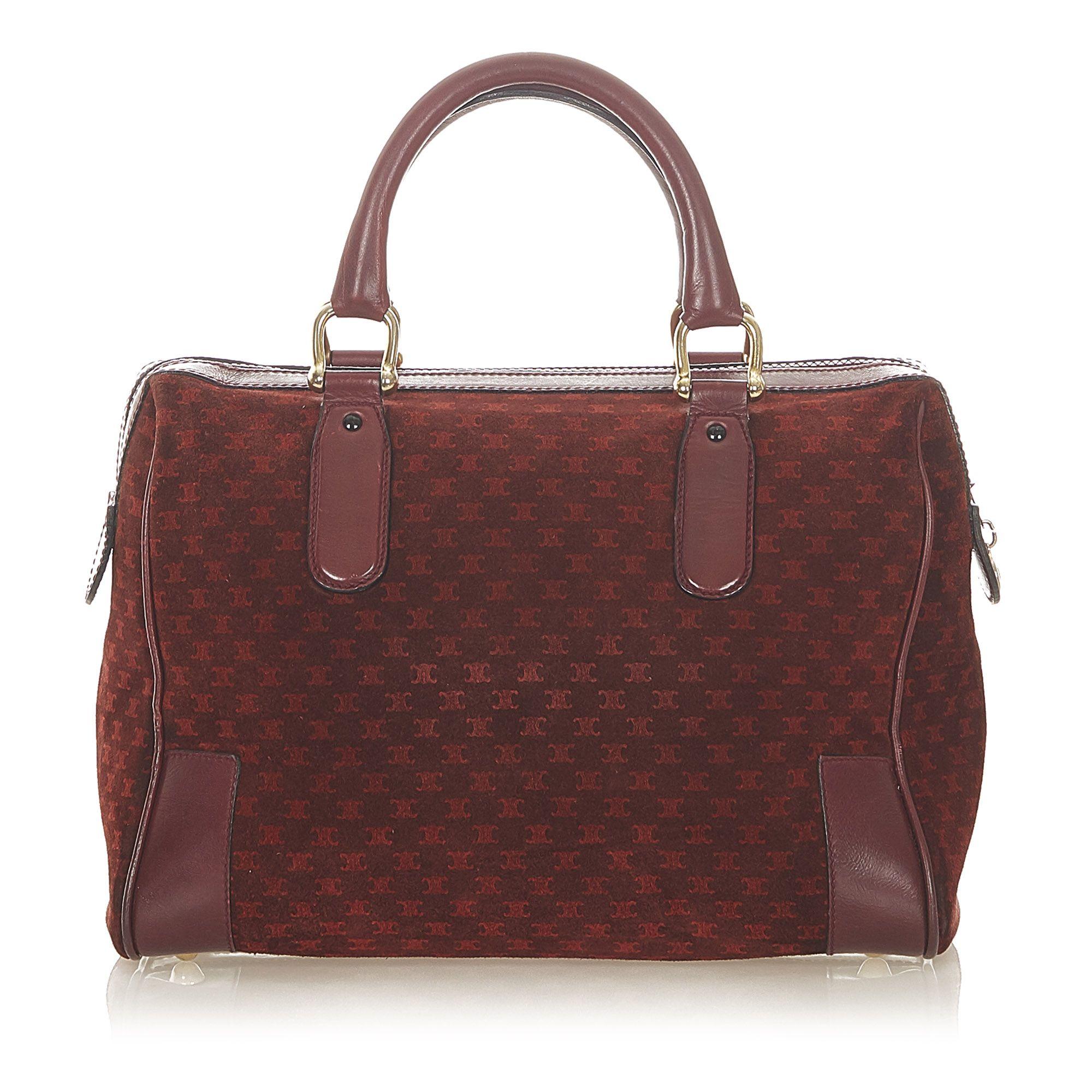 Vintage Celine Macadam Suede Boston Bag Red