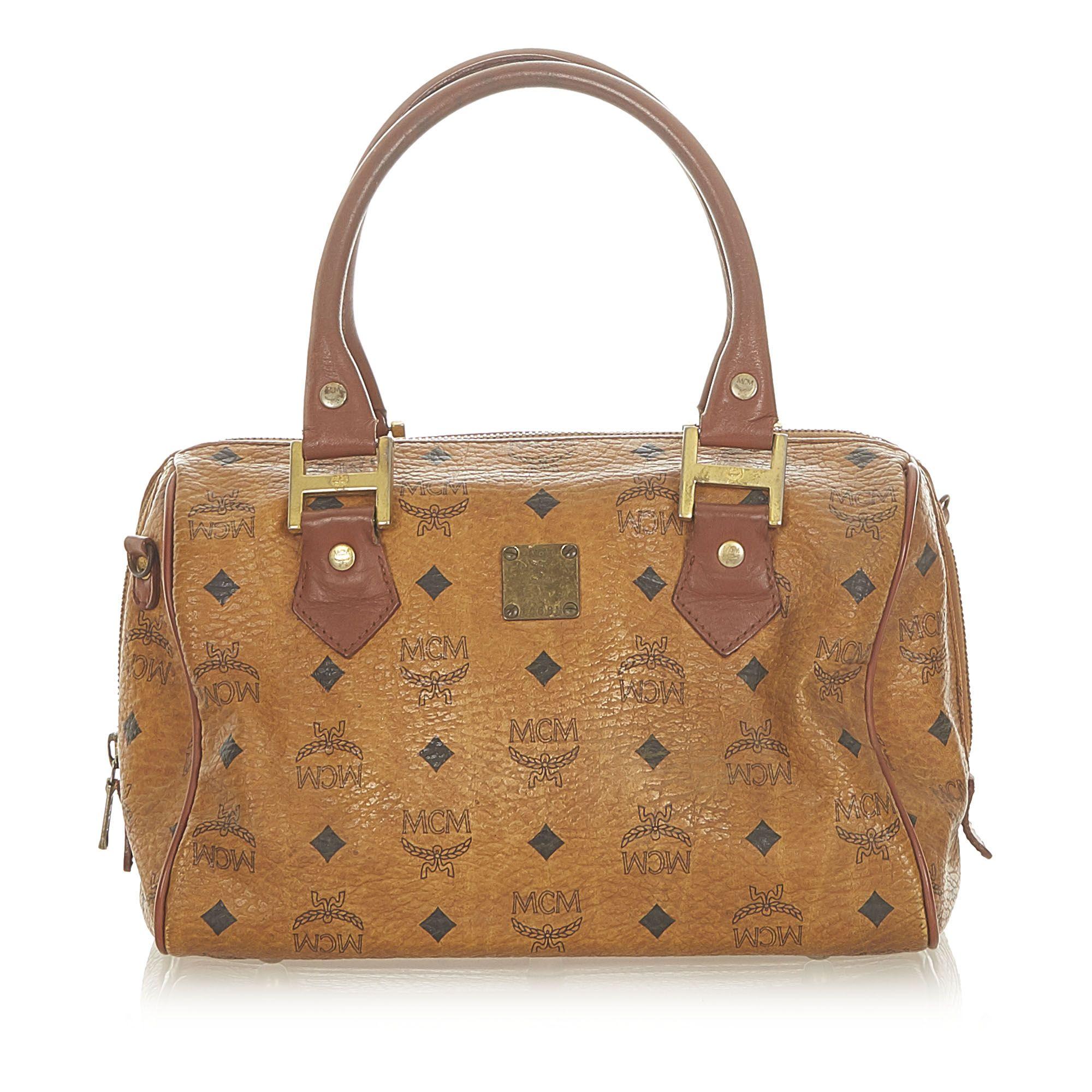 Vintage MCM Visetos Leather Boston Bag Brown