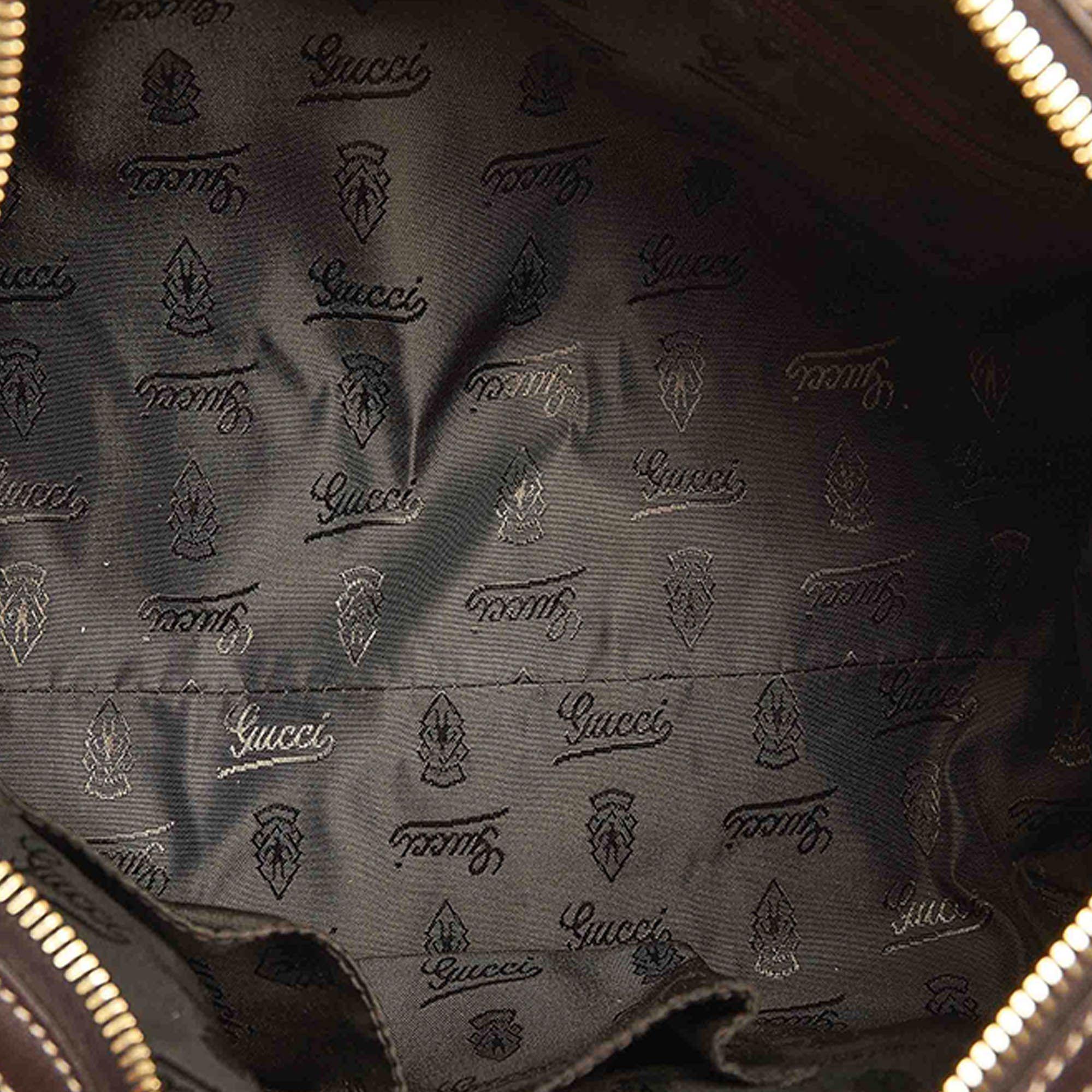Vintage Gucci GG Crystal Duchessa Boston Bag Brown