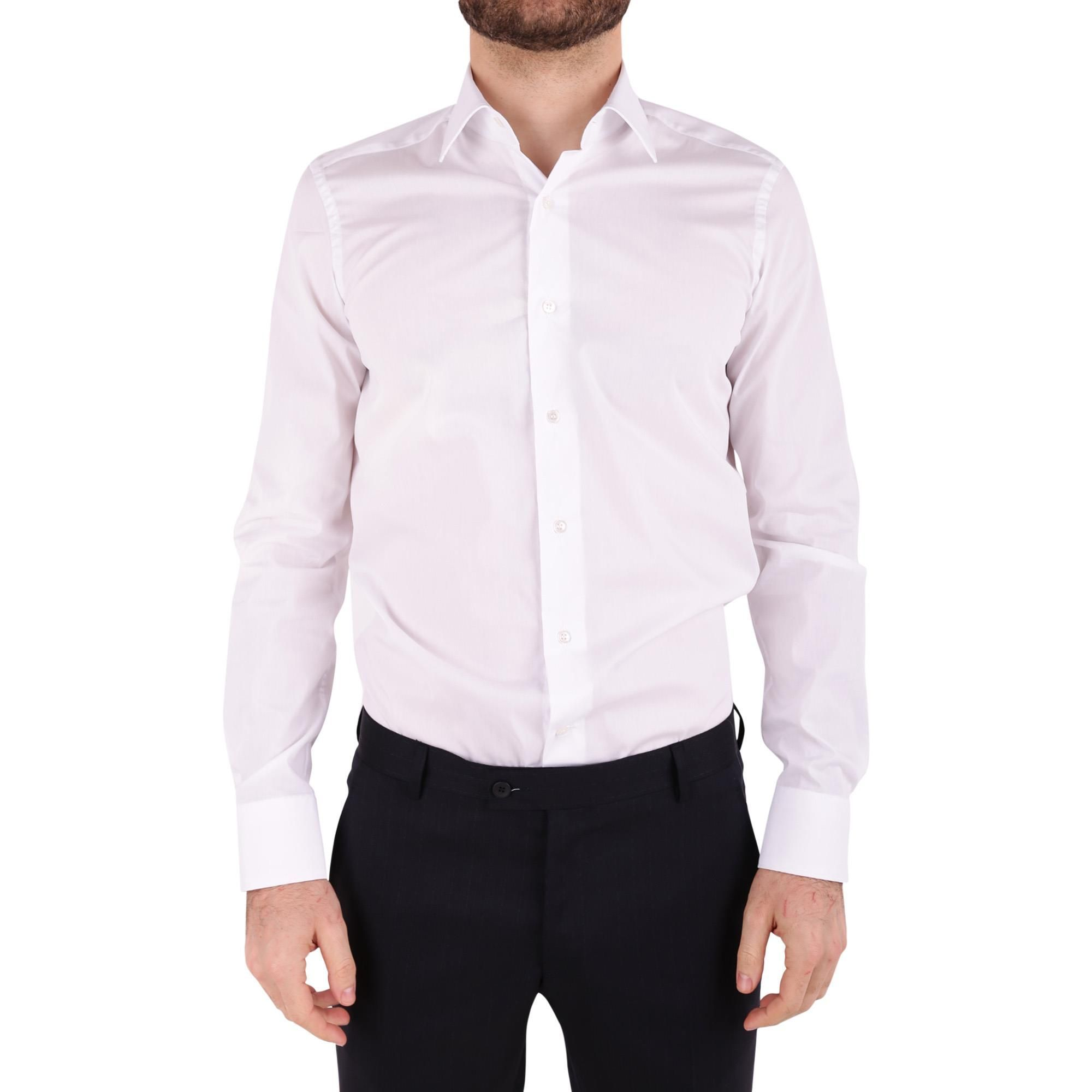 UNGARO MEN'S BTCLO10L0622527 WHITE COTTON SHIRT