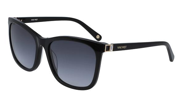Nine West Rectangular plastic Women Sunglasses BLACK / Grey Gradient