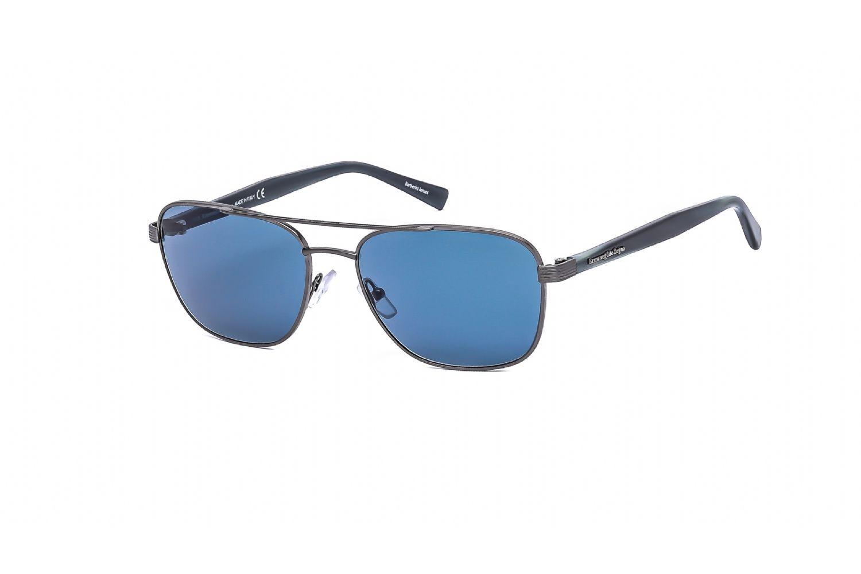 Ermenegildo Zegna Rectangular metal Unisex Sunglasses Shiny Light Ruthenium / Blue