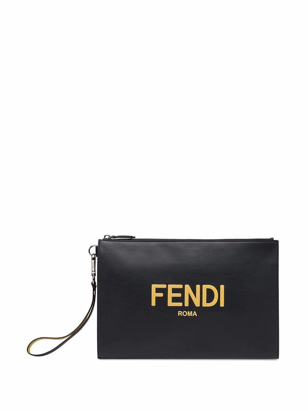 FENDI MEN'S 7N0110ADM8F0R2A BLACK LEATHER POUCH