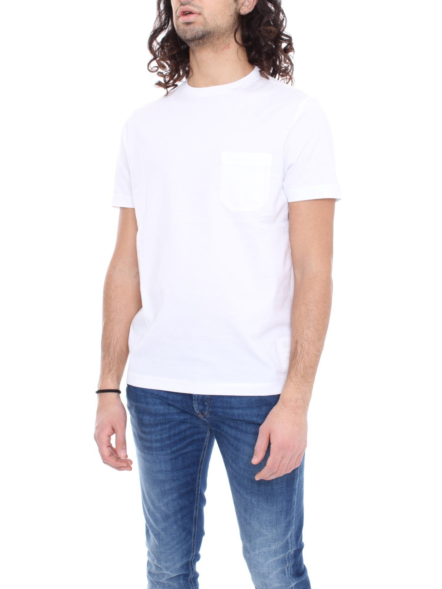 FAY MEN'S NPMB3401330PKUB001 WHITE COTTON T-SHIRT