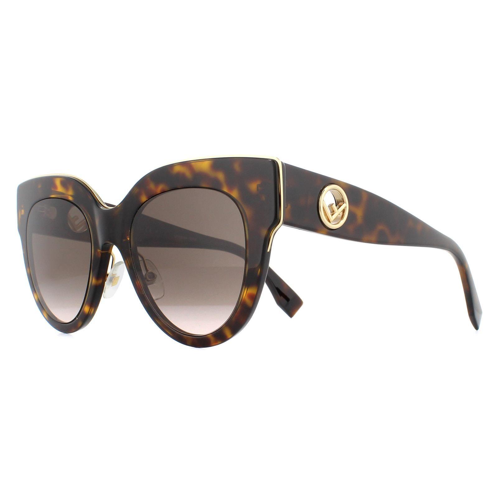 Fendi Sunglasses FF 0360/G/S H7P KU Tortoise with Black Fendi Pattern Blue