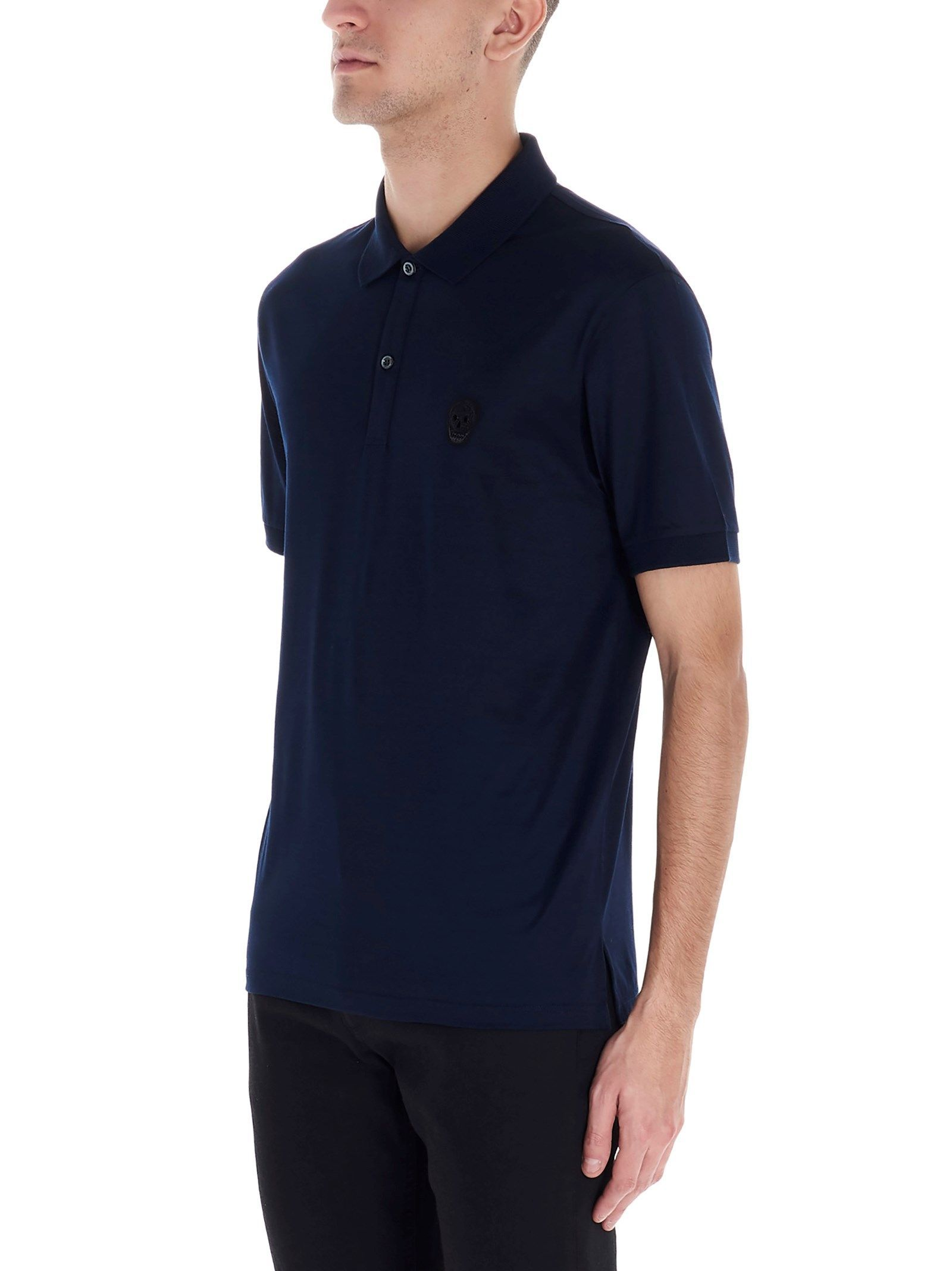 ALEXANDER MCQUEEN MEN'S 599571QOX011000 BLUE COTTON POLO SHIRT