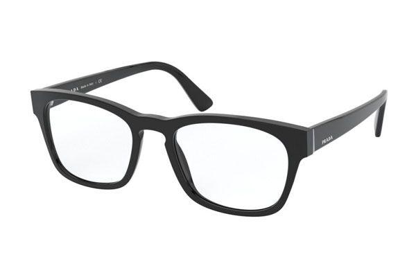 Prada Rectangular plastic Men Eyeglasses Black / Clear Lens