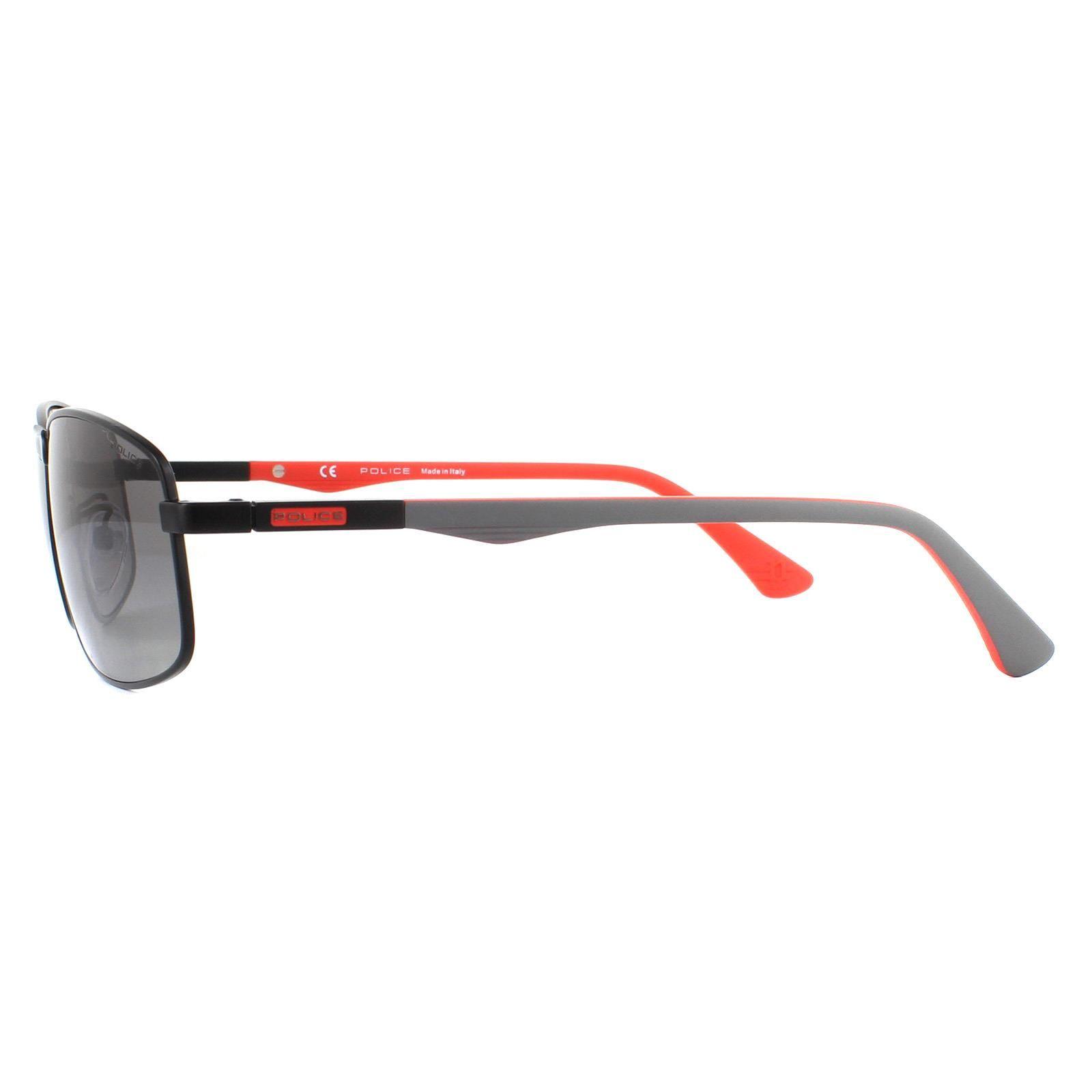 Police Sunglasses Brooklyn 8 SPL530 531Z Semi Matte Black Red Grey Gradient Polarized