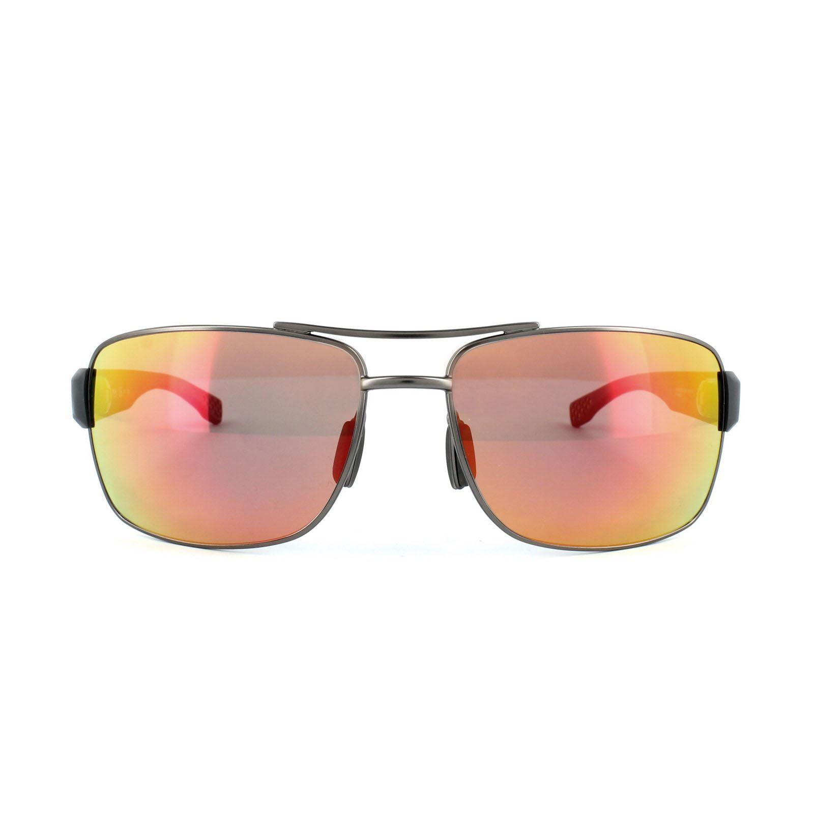 Hugo Boss Sunglasses 0801 YQD 7H Matt Dark Ruthenium Grey Red Mirror Polarized Oleophobic