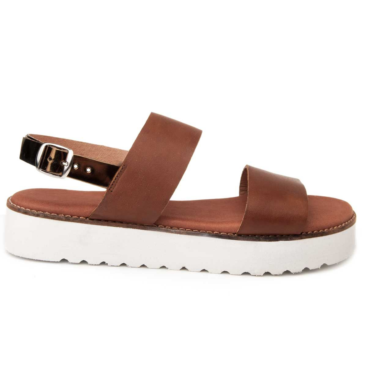 Purapiel Flat Wedge Sandal in Camel