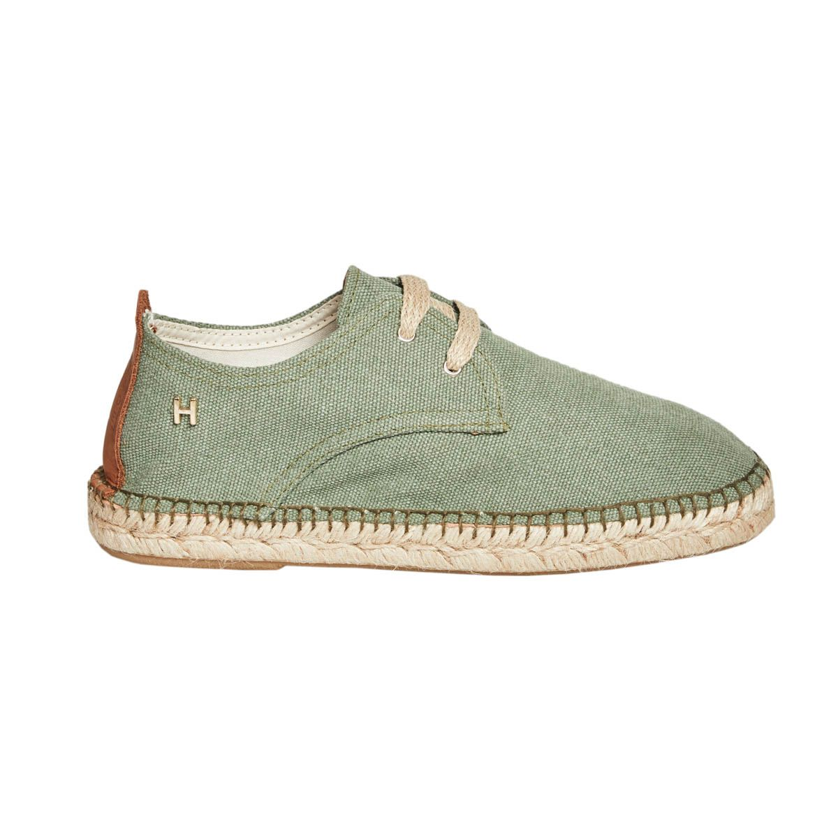 Leindia Lace Up Espadrille in Green