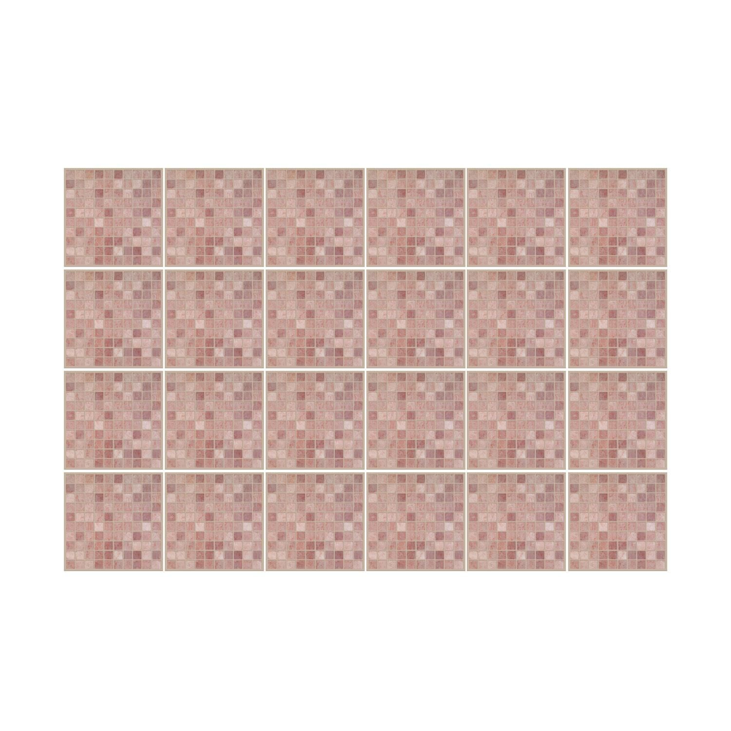 Vintage Pink Marble Mosaic Wall Tile Sticker Set - 15cm (6inch) - 24pcs one pack Self Adhesive DIY Wall Sticker