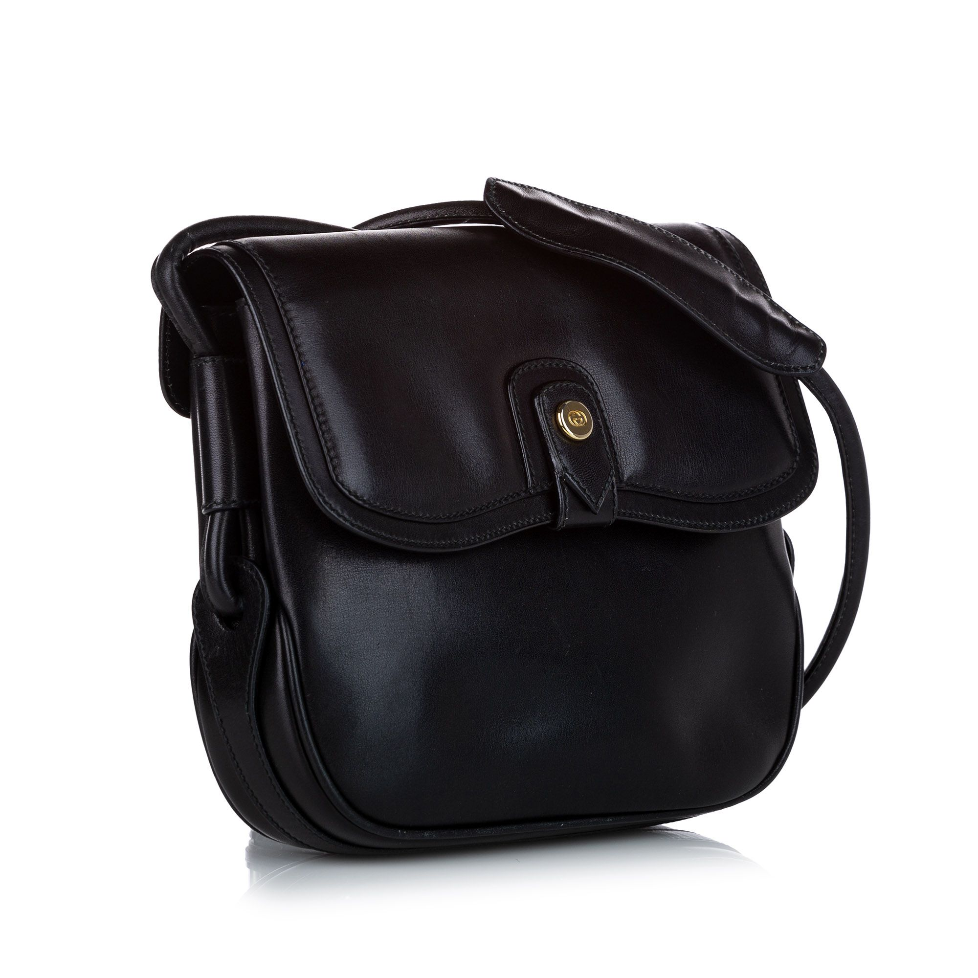 Vintage Gucci Leather Shoulder Bag Black