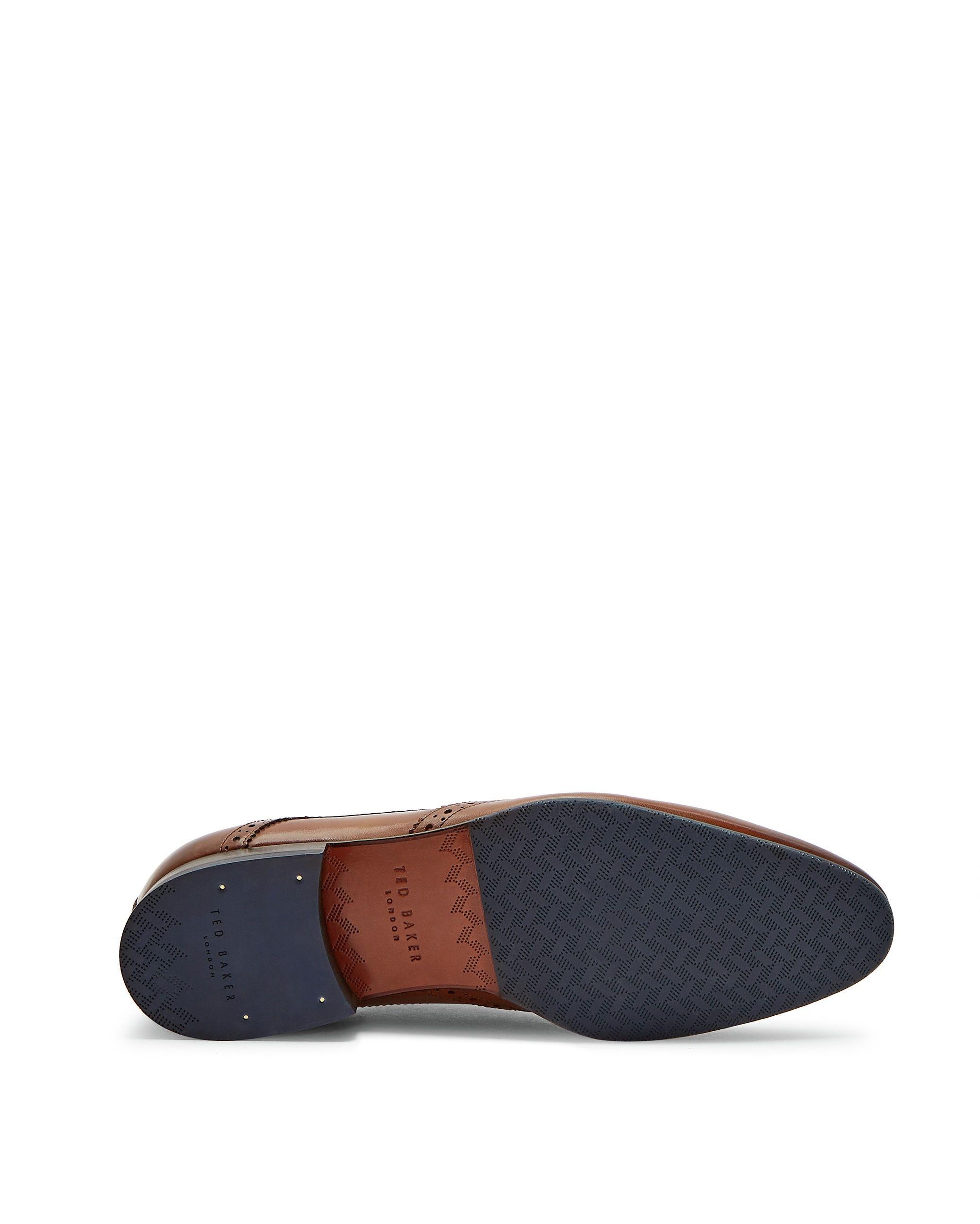 Ted Baker Hosei Leather Wing Cap Brogues, Tan