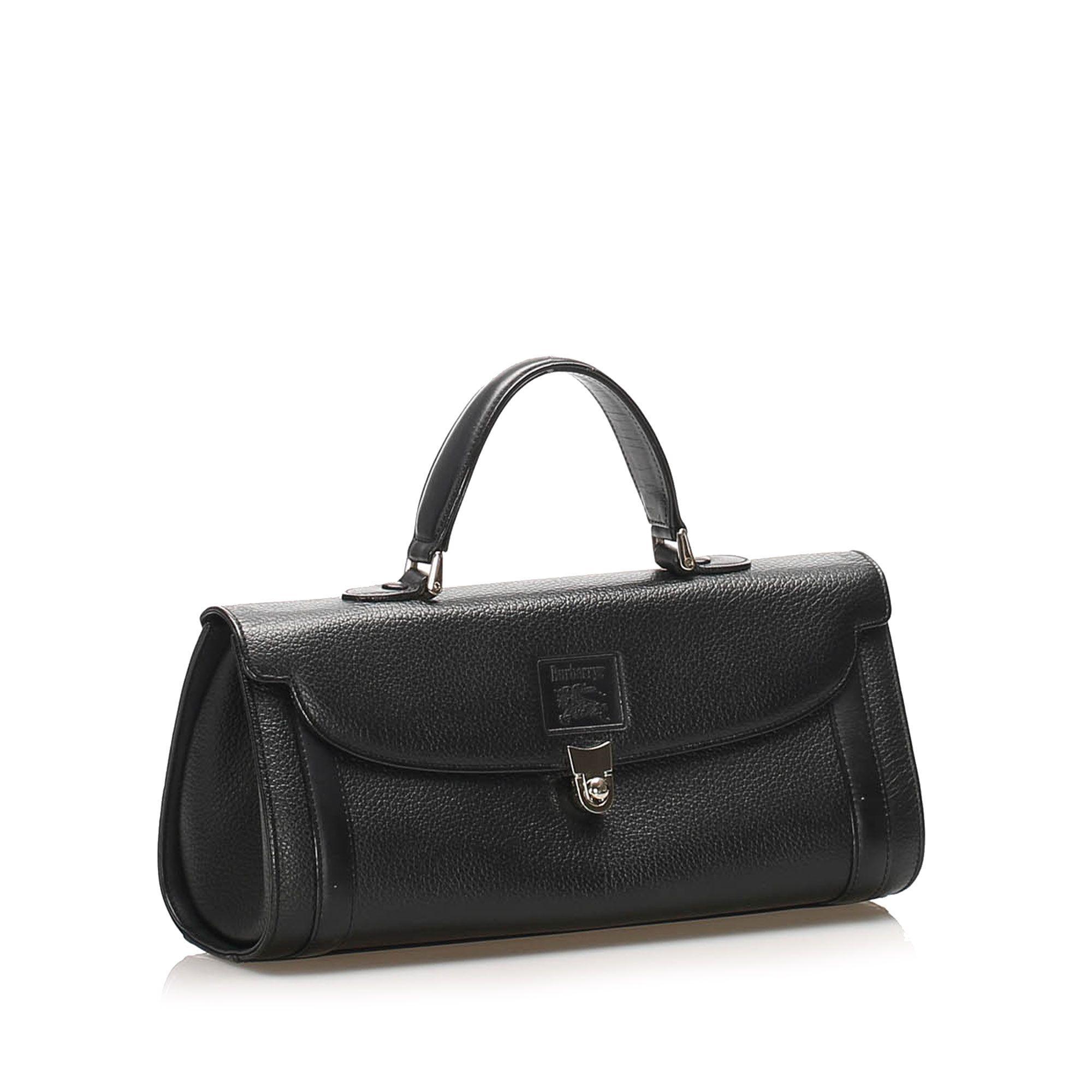 Vintage Burberry Leather Handbag Black