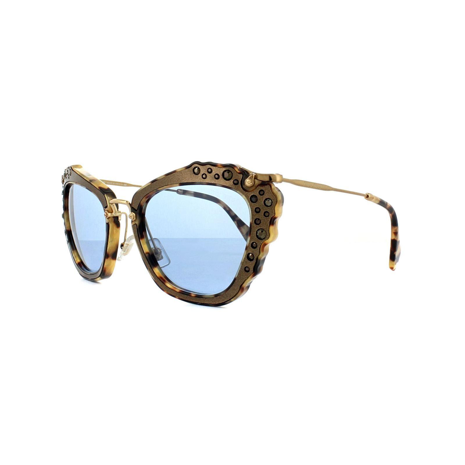 Miu Miu Sunglasses 04QS DHF0A2 Brown Light Havana Gold Blue