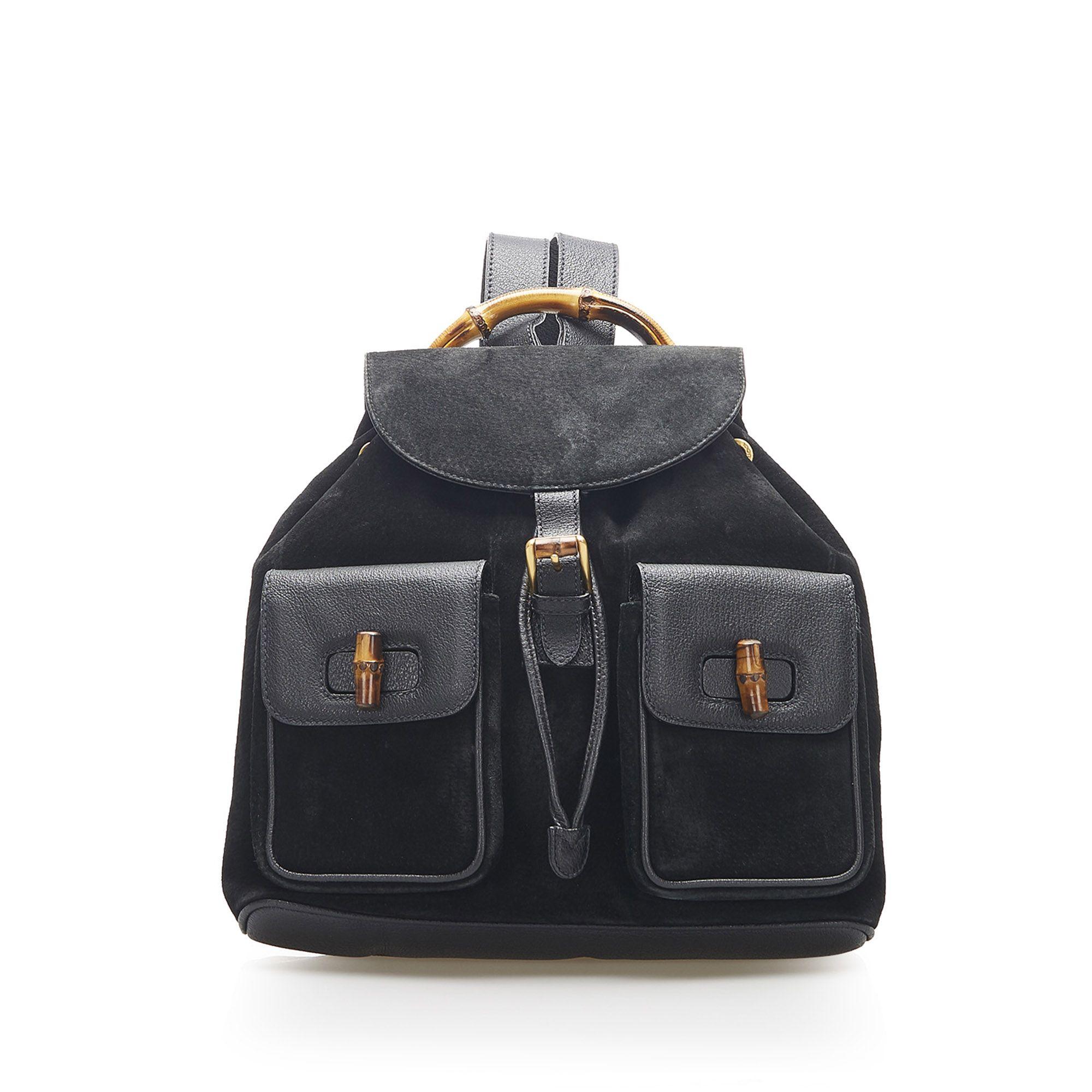 Vintage Gucci Bamboo Suede Drawstring Backpack Black