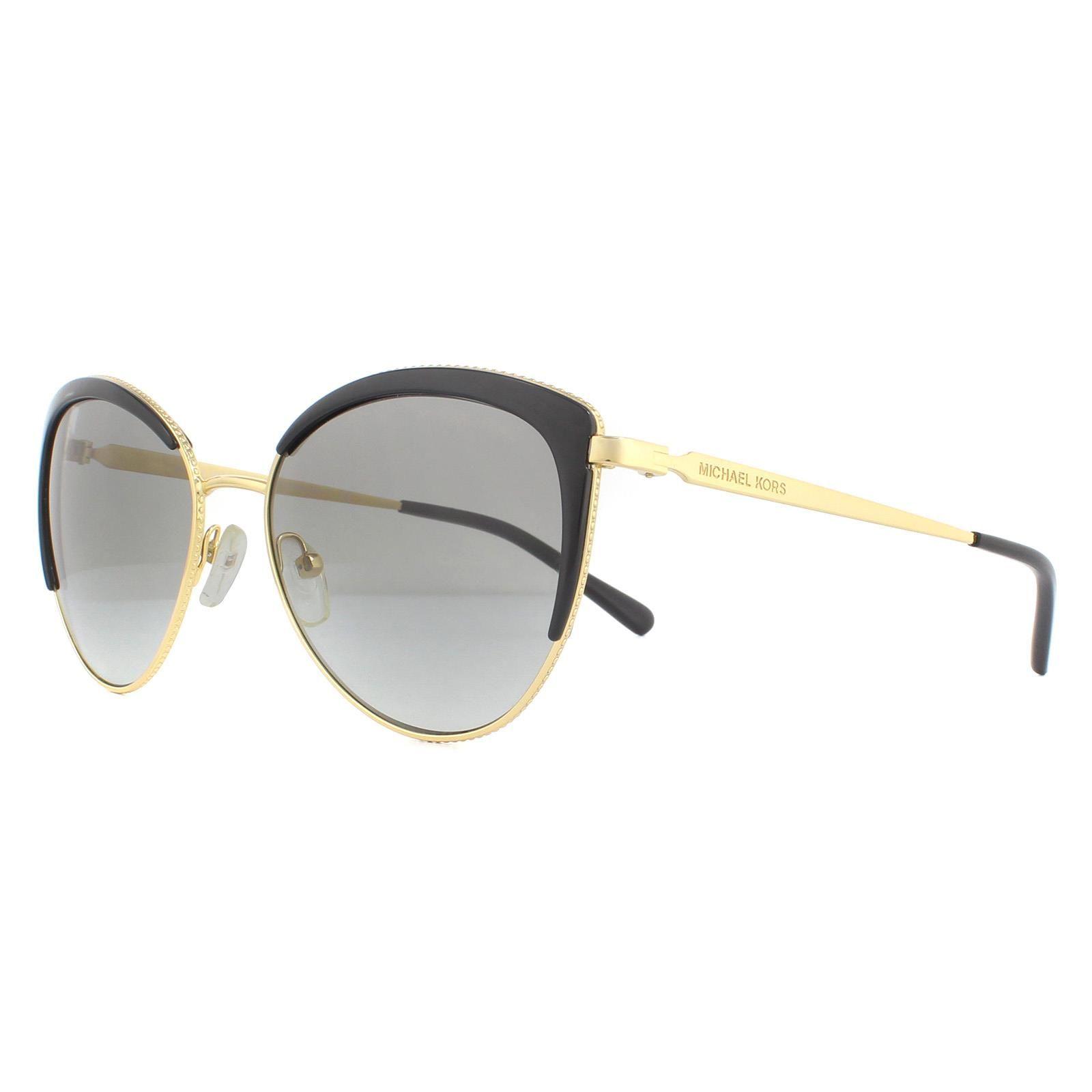 Michael Kors Sunglasses Biscayne MK1046 110011 Light Gold Black Dark Grey Gradient