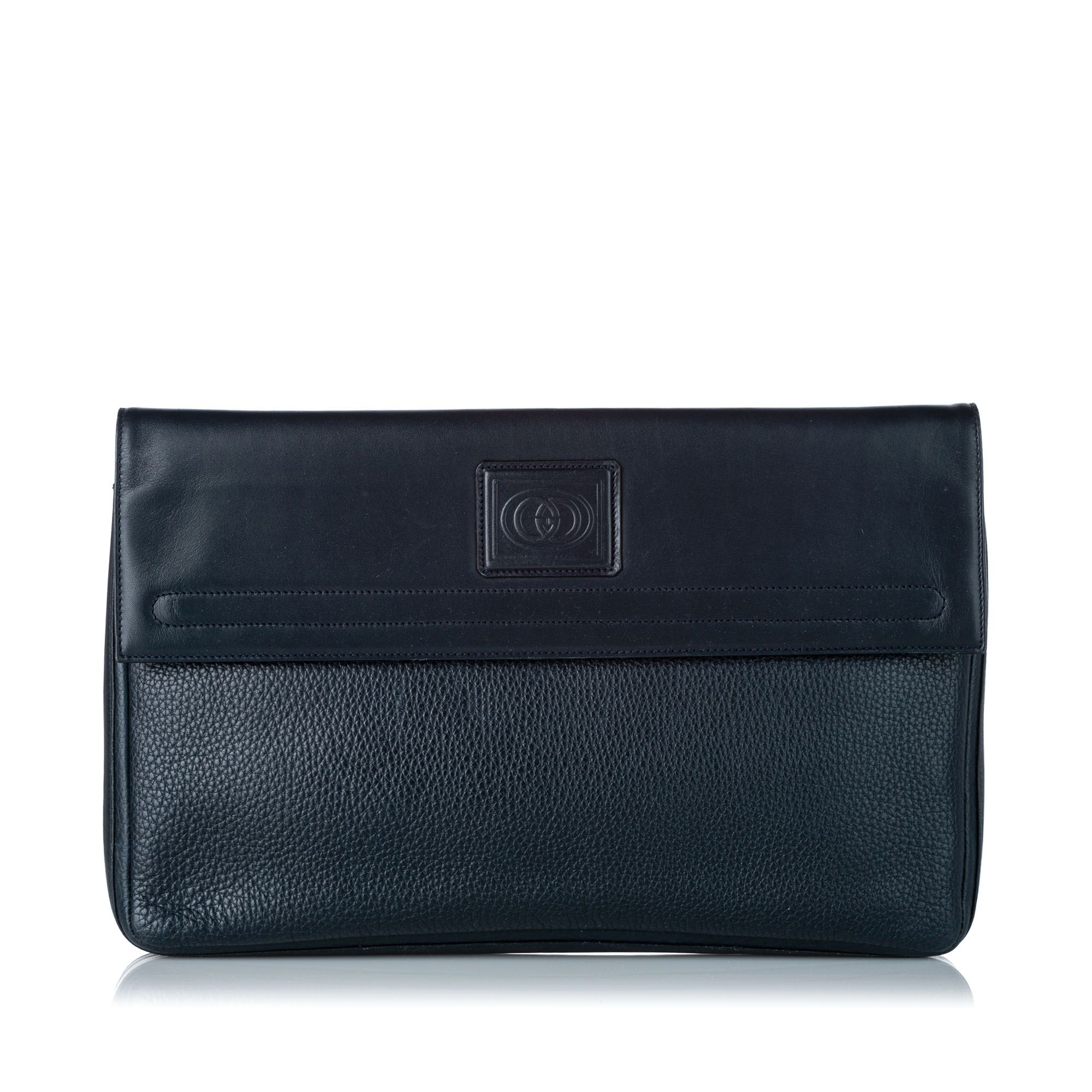 Vintage Gucci Leather Clutch Bag Blue