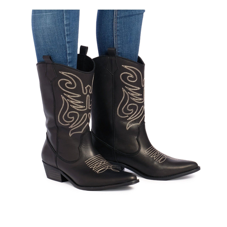 Eva Lopez Leather Cowboy Boots Women Black