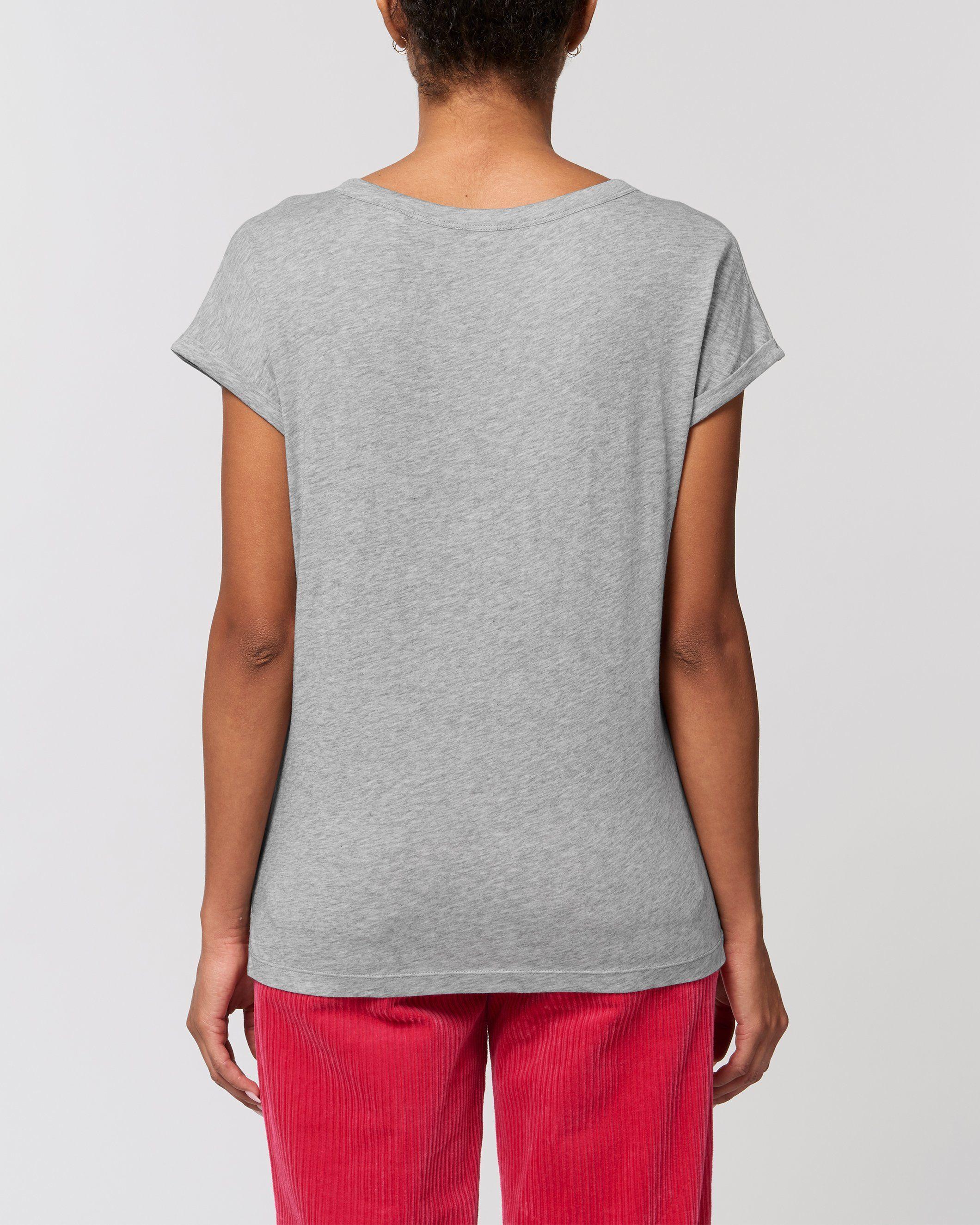 Nadi Women's Rolled Sleeve Slub T-Shirt in Grey