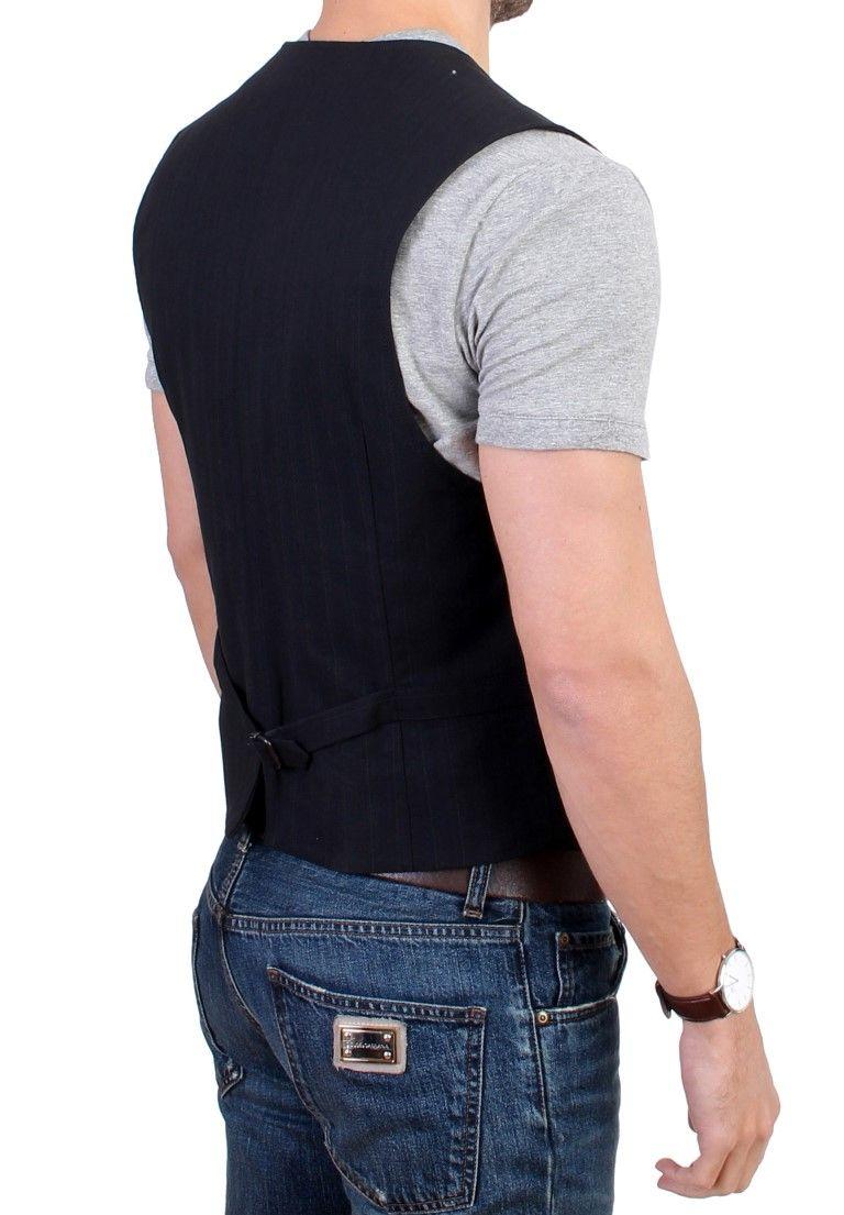 Costume National Black striped cotton casual vest