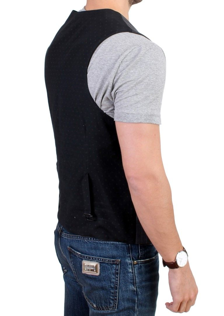 Costume National Gray striped cotton casual vest