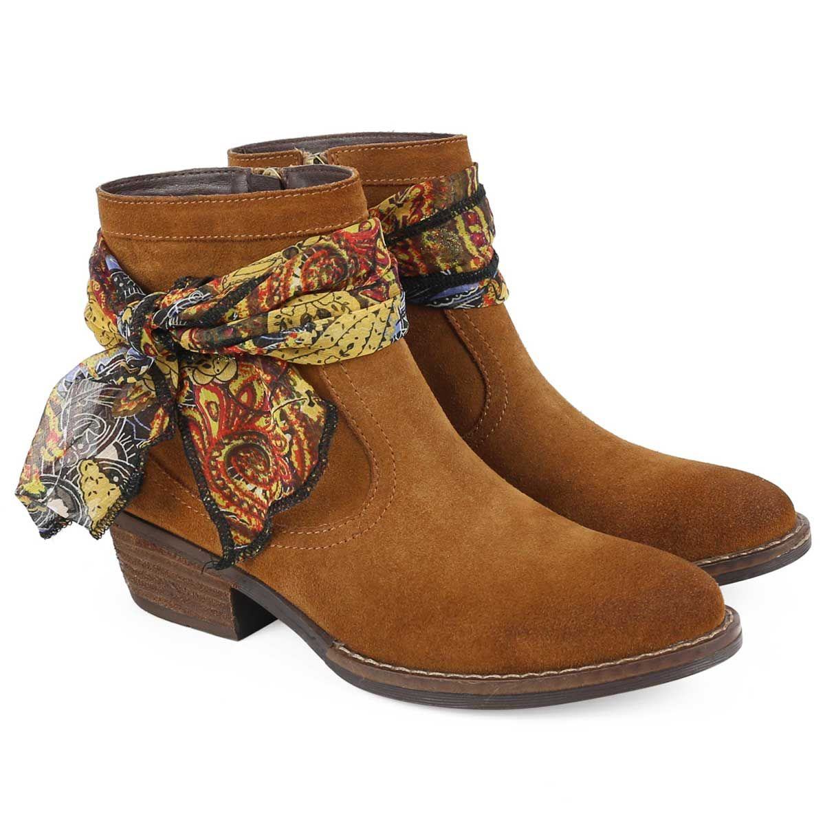 Montevita Scarf Tie Ankle Boot in Camel