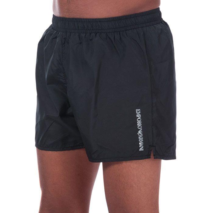 Men's Armani Ultra Light Packable Swim Shorts in Black
