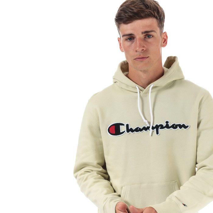 Men's Champion Large Logo Hoodie in Green
