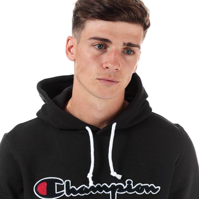 Men's Champion Large Logo Hoodie in Black
