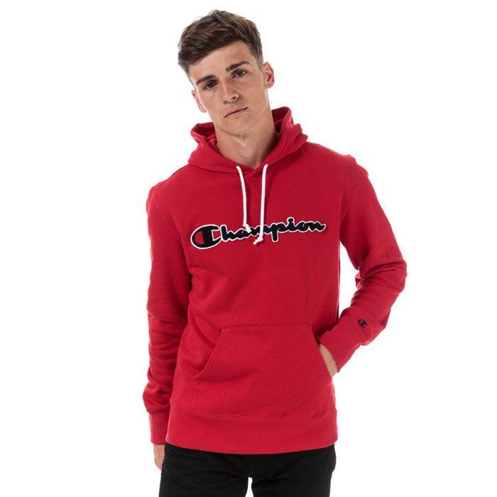 Men's Champion Large Logo Hoodie in Red