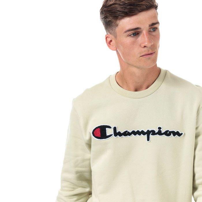 Men's Champion Large Logo Sweatshirt in Green