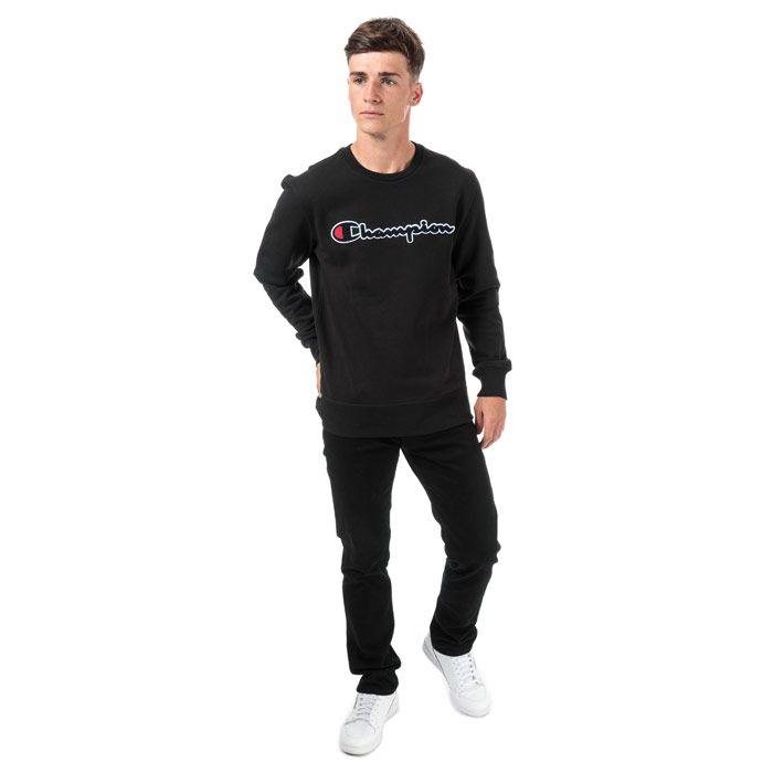 Men's Champion Large Logo Sweatshirt in Black