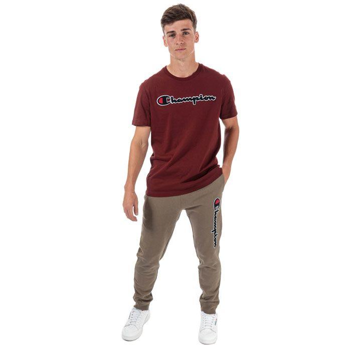 Men's Champion Large Logo Jog Pants in Brown