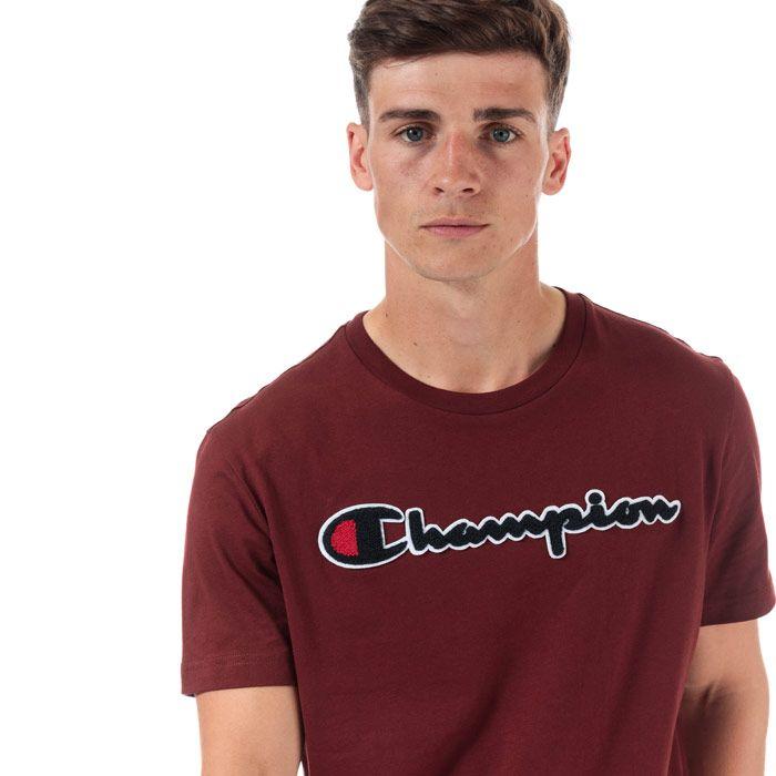 Men's Champion Large Logo T-Shirt in Burgundy