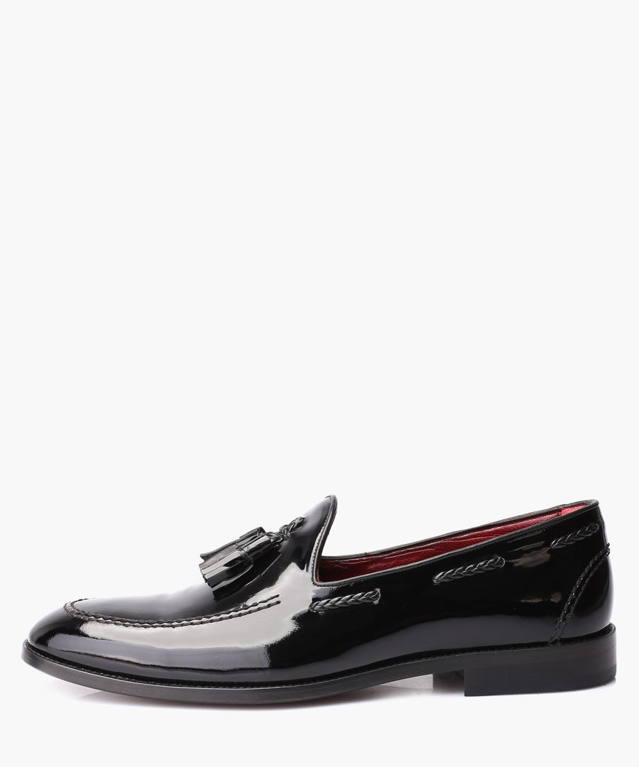 Black leather tassel front loafers