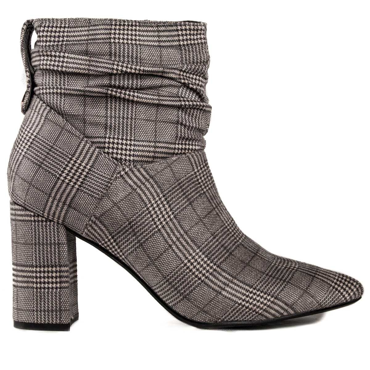 Montevita Heeled Ankle Boot in Check Print
